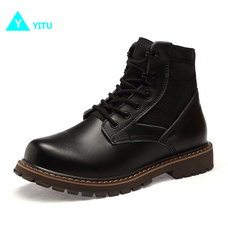 YITU Breathable Outdoor Sports Tactical Boots Men Hiking Shoes For Mountain Climbing Shoes Suede Leather Big Size Winter Sneaker big size 46 men s winter sneakers plush ankle boots outdoor high top cotton boots hiking shoes men non slip work mountain shoes