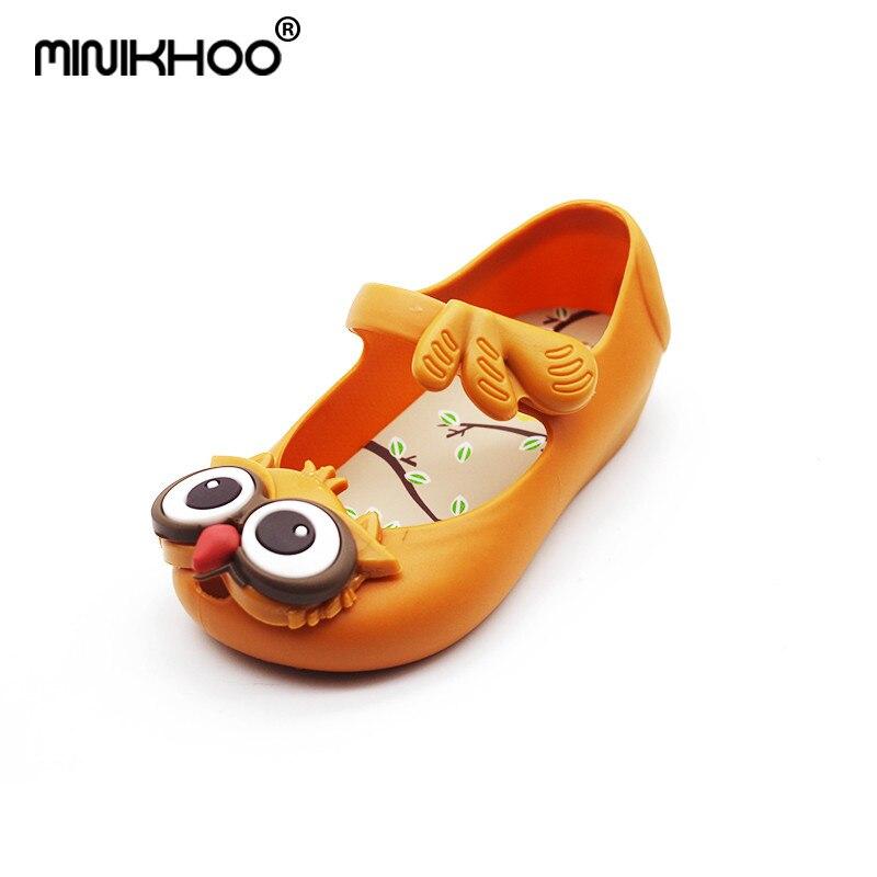 Mini Melissa Owl Girl Jelly Sandals For Children Jelly Sandals Non-slip MINI Brand Baby Shoes Girl Beach Sandals 13cm-16.5cm