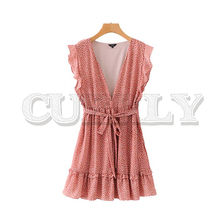 CUERLY women sexy dot ruffled mini dress 2019 deep V neck bow tie sashes sleeveless side zipper female stylish dresses vestido