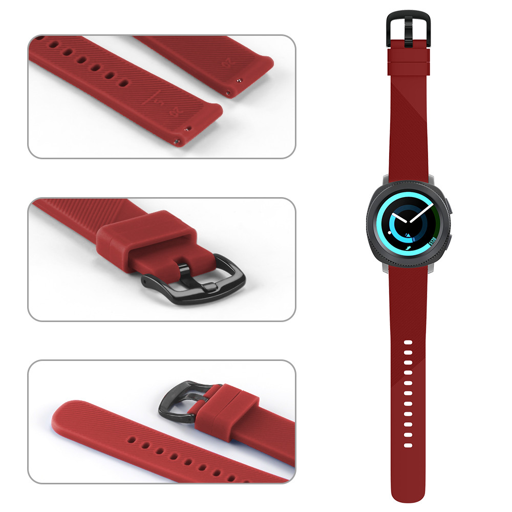 Large Small size 20mm Width for Samsung Gear Sport Strap Metal Buckle Band Silicone Watchband for Samsung Gear S2 Classic Strap in Watchbands from Watches