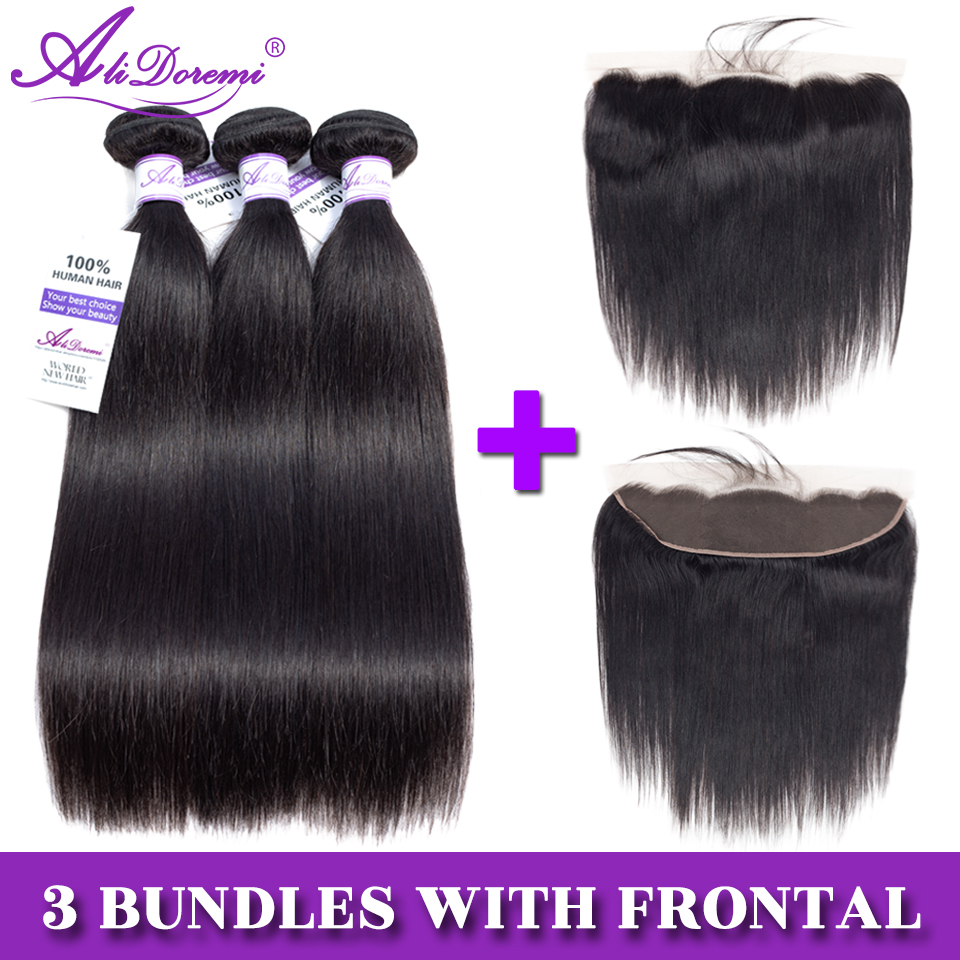 Alidoremi Brazilian Straight Hair 13x4 Lace Frontal Closure with Bundles Non Remy Human Hair with Frontal Closure Free Part