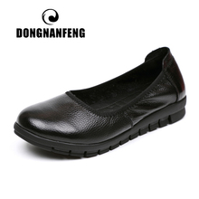 купить DONGNANFENG Women Mother Old Female Shoes Flats Loafers Cow Genuine Leather Casual PU Non Slip On Round Toe Soft Work 35-41 OL-3 дешево