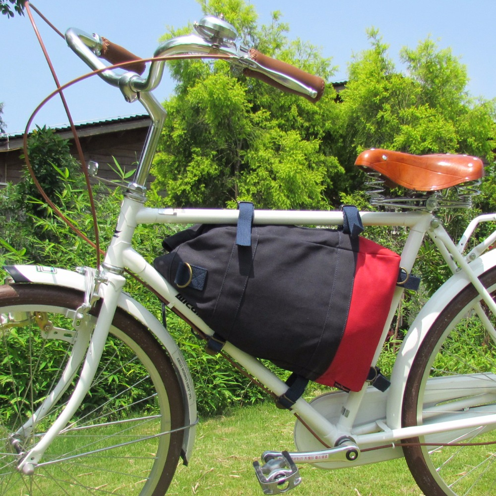 Tourbon Bicycle Triangle Bag Canvas Backpack Rear Rack Bag