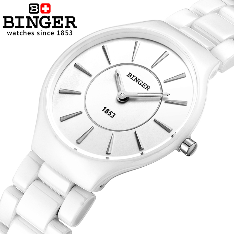 Switzerland BINGER Elegant White Ceramic Quartz Watch Women Fashion Lovers Style Luxury Brand Wristwatches Water Resistant
