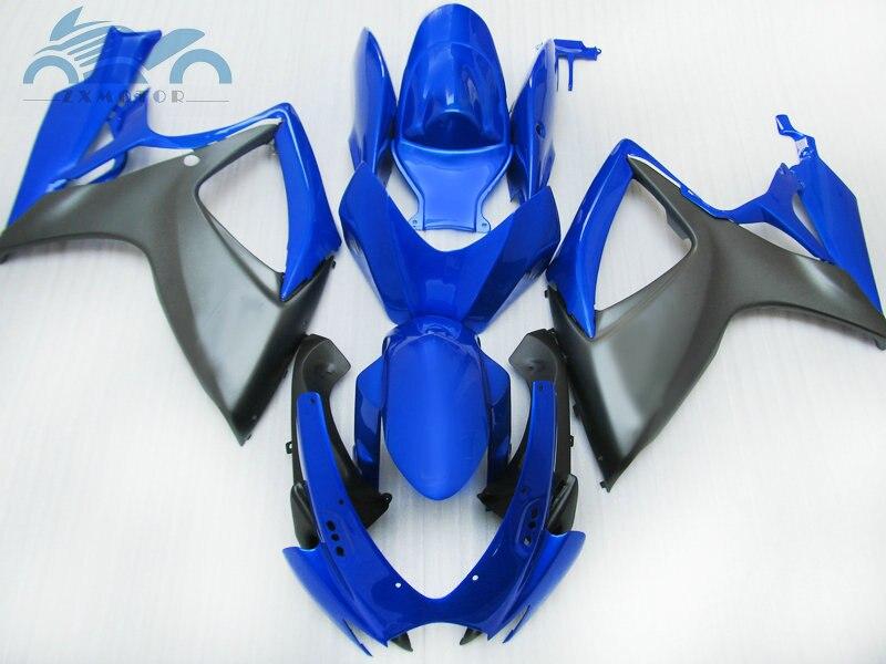 מותאם אישית עובש הזרקת Fairing לסוזוקי GSXR 600 2006 2007 K6 750 ABS מעטפת ערכת GSXR 750 06 07 כחול מט שחור