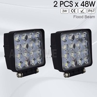2PCS 4inch 48W Waterproof IP67 Square 6000K Car Offroad Truck 12V LED Work Light 4x4