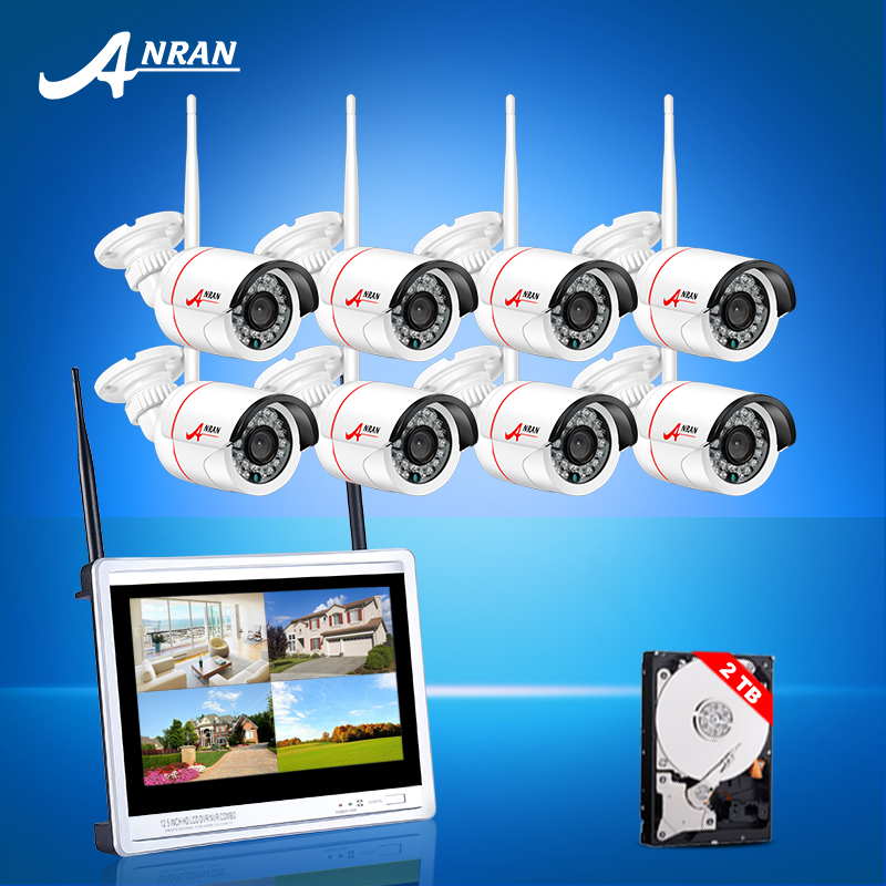 Plug And Play 8CH Wireless NVR Security Kit 12Inch Screen 2TB HDD P2P 1.0MP HD Night Vision IR WIFI Camera Surveilance System