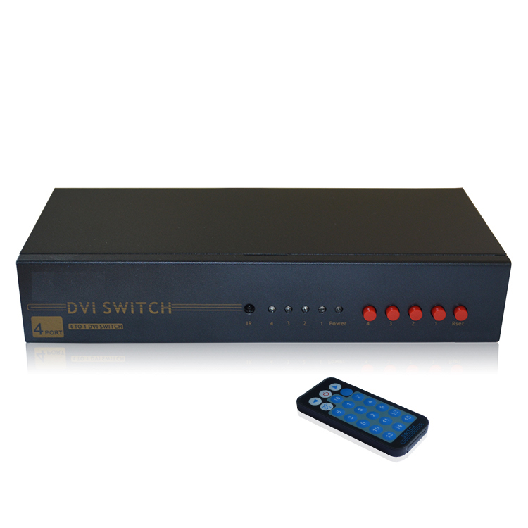 HighTek HK-D4T1 DVI 4 ports switch box, 4-port DVI switcher, DVI-D Switch 4 input 1 output hightek hk 5110a industrial grade 1 port rs232 485 to 4 port rs485 hub each port with optical isolation 600w thunder protection