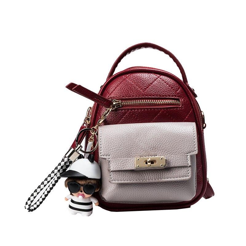 Women backpack diamond pattern small shoulder bag female new locks rucksack patchwork cute accessory