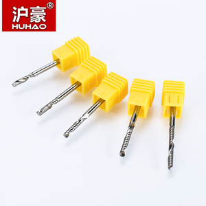 Image 5 - HUHAO 10pcs/lot 3.175mm Single Flute Spiral Cutter router bit CNC end mill For MDF carbide milling cutter tugster steel cnc