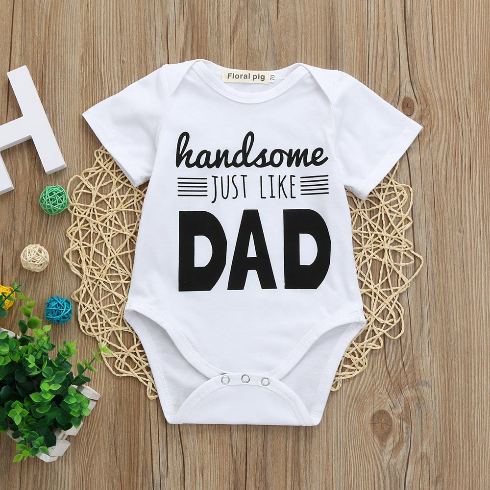 Outfits Short-Sleeve Print Newborn Baby-Boys-Girls Letter Infant One-Piece Jumpsuit Romper
