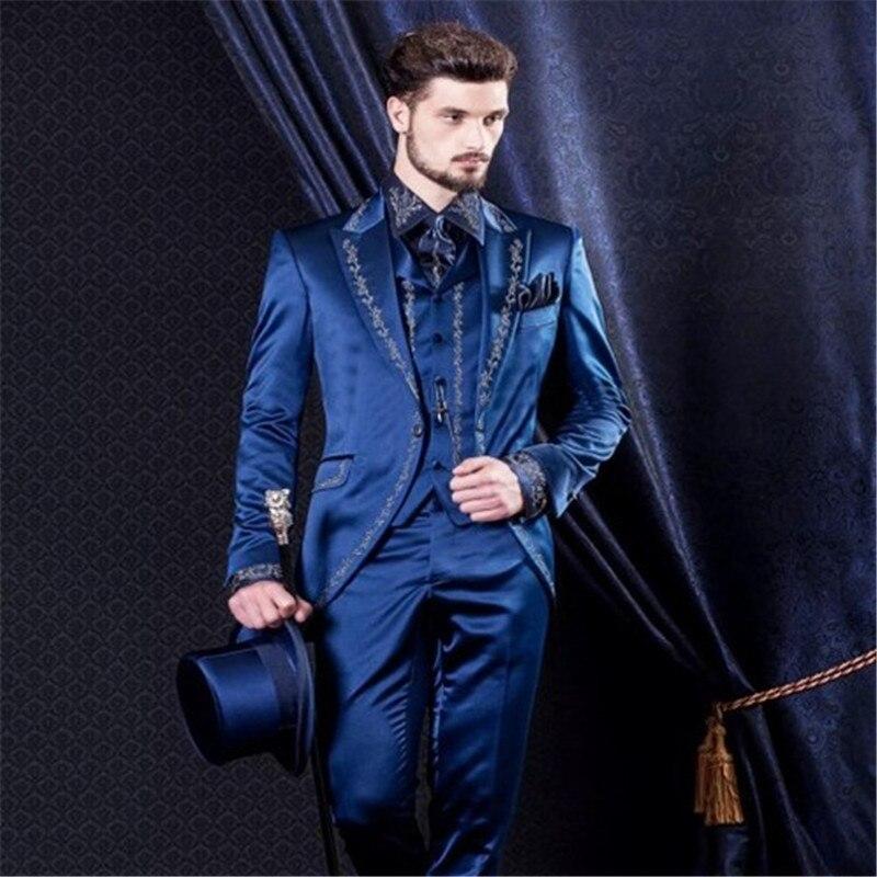 Customize Blue Embroidery Groom Men Suit Tuxedos Tailcoat Groomsmen Mens Wedding Prom Suits (Jacket+Pants+Vest+Tie)