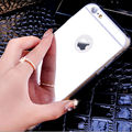 Espejo de galvanoplastia de lujo suave claro tpu de silicona case para iphone 5 5s 6 6 s 6 plus contraportada casos para iphone 7 case 7 plus