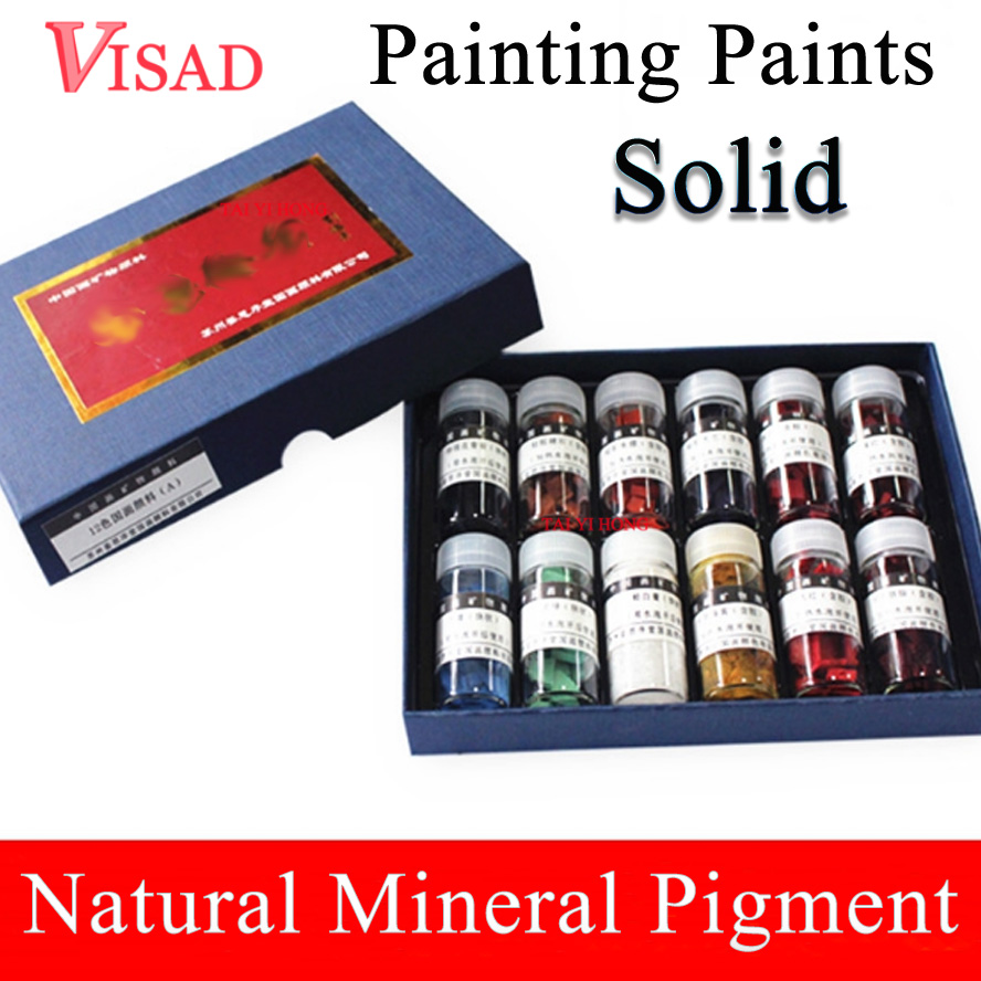 12 colors Solid Painting Paints Natural pigment for Chinese Painting Mineral Pigment Paints natural water sorghum pigment extract 300g lot