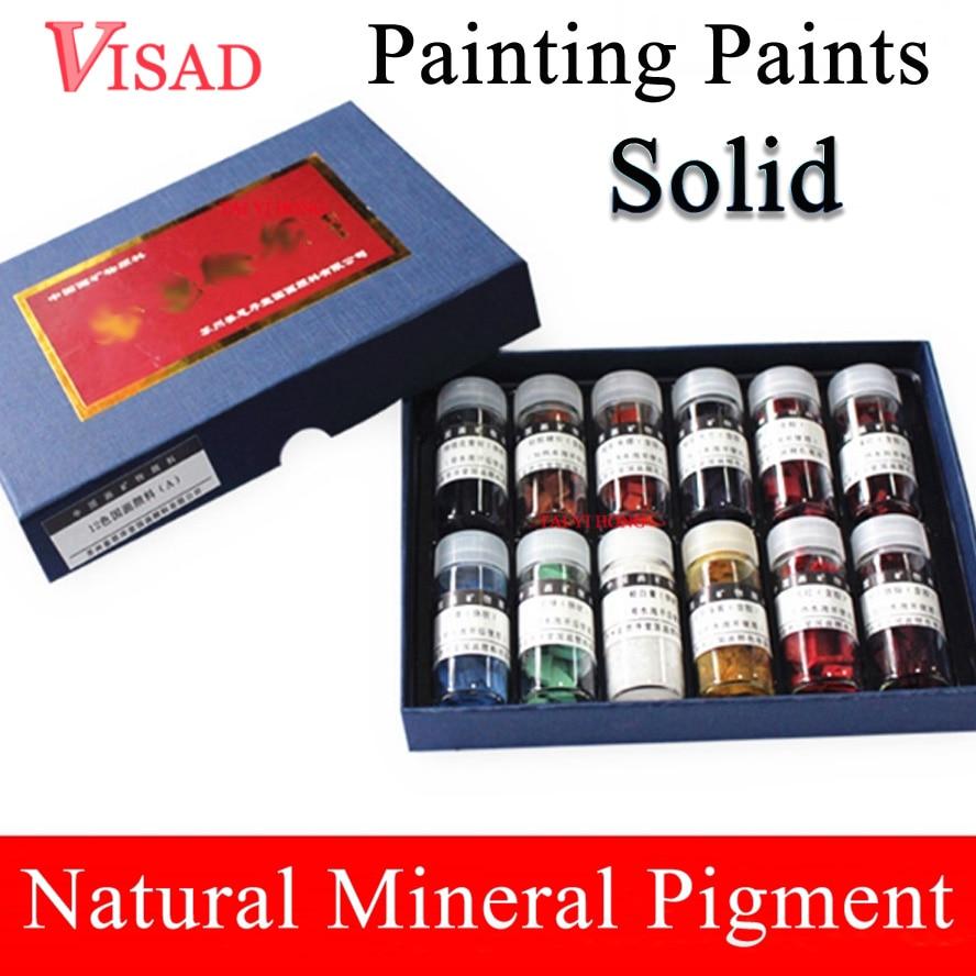 12 цветов, одноцветные краски, натуральный пигмент для китайской живописи, минеральные пигментные краски