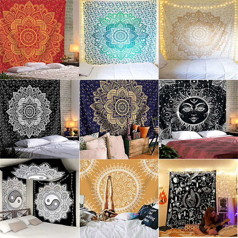 India Mandala Tapestry Macrame Wall Hanging Psychedelic Hippie Boho Decor Tarot Witchcraft Wall Tapestry Carpet Table Cloth Yoga