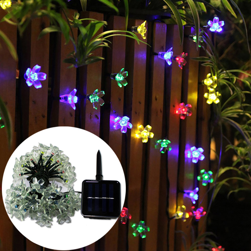 50 LED Garden Decoration Bonsai Peach Blossom Light String Solar Energy Series Courtyard Garden Partay Festival Decoration HR