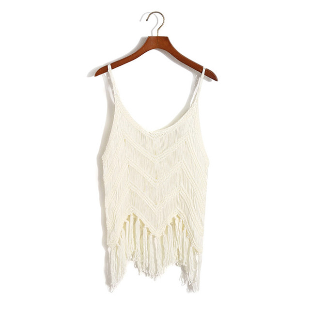 Sexy Knitted Boho Top with Tassels