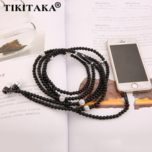Fashion Pearl Necklace Chain Earphone Bling Crystal Diamond 3.5mm Plug Wired Stereo Headset W/ Mic For iphone Samsung SmartPhone