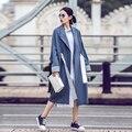 Новый 2017 Мода Повседневная Contast Цвет Пояс Длинные женские Траншеи женский Тонкий Нерегулярные Пальто С Длинным Рукавом Outerwears Топы
