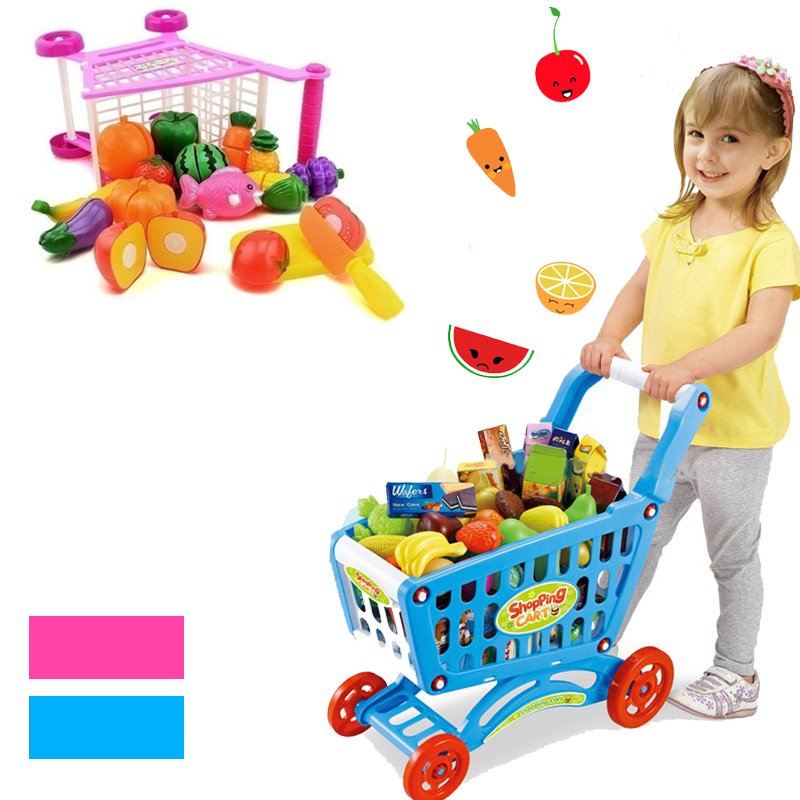 16Pcs Supermarket Shopping Cart Trolley Push Toys Simulation Fruits  Vegetables Pretent Play Groceries Toy For Girl Kids Gifts
