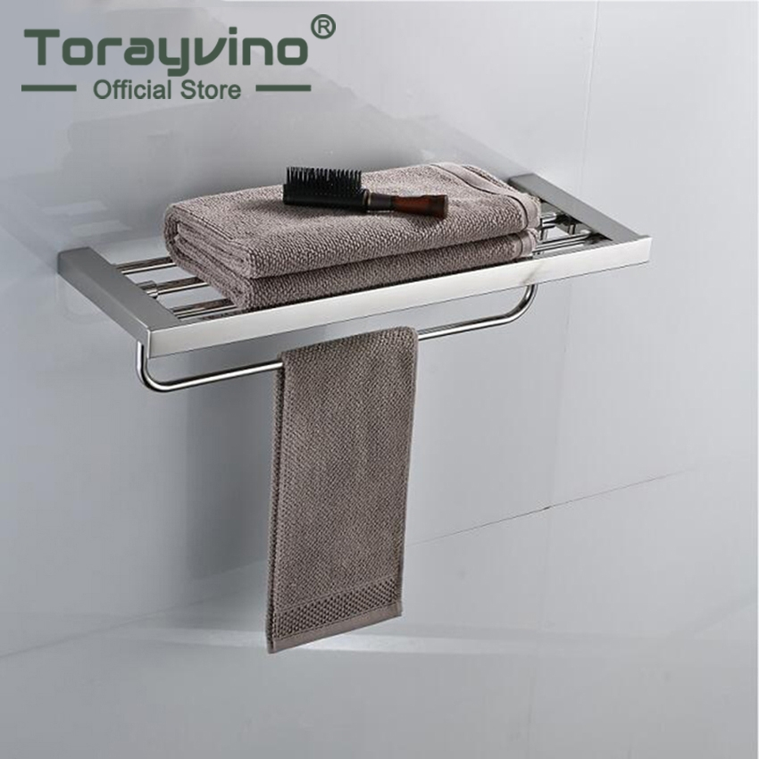 Torayvino Chrome Polished Swivel Stainless Steel Wall Hanging Bathroom Towel Rail Holder Rack Shelf Double Layer Towel Holder viborg deluxe sus304 stainless steel foldable wall mounted bathroom towel rack shelf towel holder storage