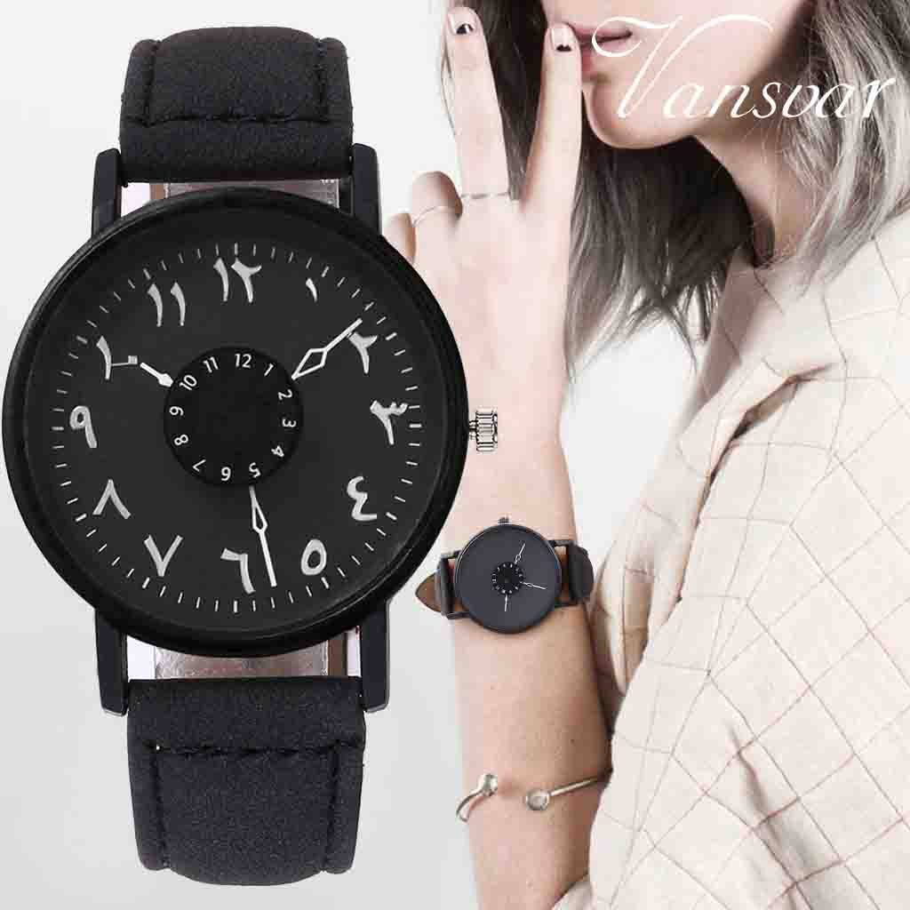 Vansvar Brand Black White Lover's Couple Watches Unique Arabic Numbers Leather Women Quartz Wristwatch Luxury Brand Clock