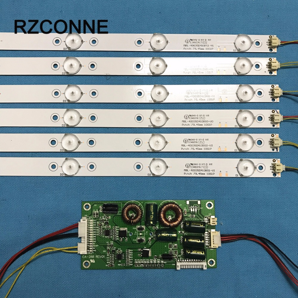 775mm LED Backlight Lamps kit w/ 10 Optical Lens Fliter 30V for 39'' 40'' TV Monitor Panel 6pcs LED strips + driver board l32f1500 3d driver board backlight 40 l32p61 drd2