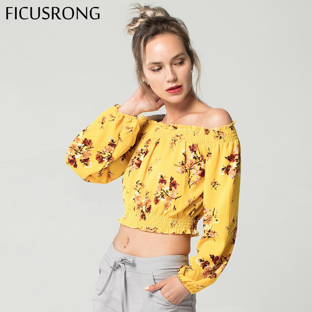 72ef5346b7b10f5 Модная женская летняя блузка Футболка с цветочным принтом желтая шифоновая  рубашка женские без бретелек сексуальные топы