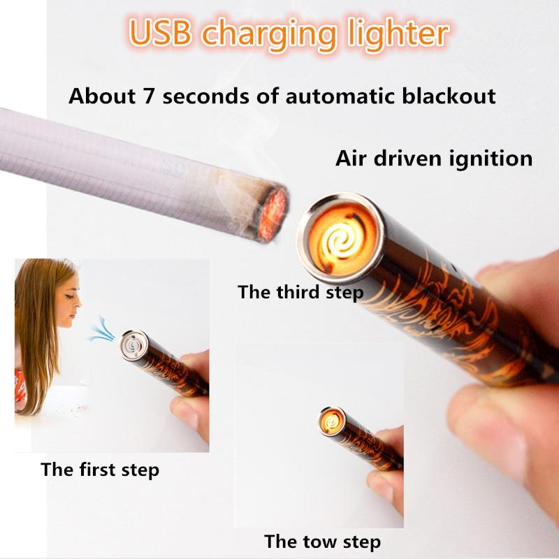 2a737e41bd1 Criativo Novidade Mini Blowing Stick USB Isqueiros À Prova de Vento sem  chama Cigarro elétrico Cigarro Eletrônico de carga mais leve em Acessórios  de ...