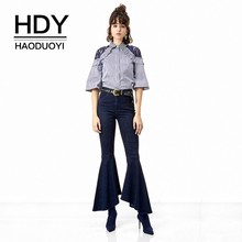 HDY Haoduoyi 2019 New Sweet Lace Stitching Hollow Ruffle Turn-down Collar Tops Short Sleeve Striped Women Blouse Summer Shirt