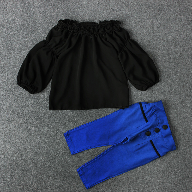 2018 New Hot Sale Toddler Infant Baby Girls Outfit Off Shoulder Shirt T-shirt Tops+Long Blue Pants Clothes Top Quality