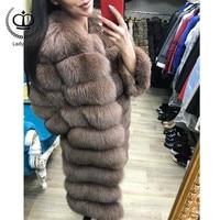 2018 натуральный Лисий мех пальто с круглым вырезом съемный рукав Нижняя трансформация длинная теплая зимняя мода женская натуральная лисий