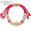 MANBALA Turtle Charm Pulsera Con Perlas de Cristal de Alta Moda Pulsera de Oro Amarillo Plateado Pulsera para Las Mujeres Joyería 400AD