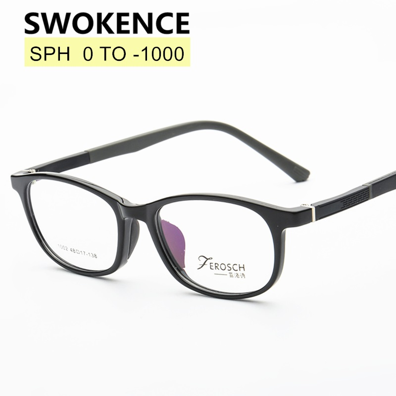 SWOKENCE SPH 0 To -10 Myopia Glasses Custom-made Men Women Elegant TR90 Frame Prescription Spectacles For Shortsighted WP004