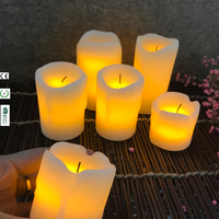 3pcs Black Wick Melted Top Warm Yellow Flickering Tea Light Small Size Table Dripping Wax Candles