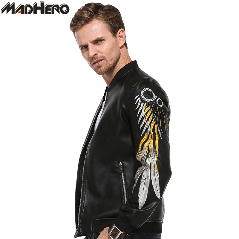 MADHERO Mens Wing Embroidery Print PU Leather Jacket Zippers Pockets High Quality Slim Fit Cool Men Biker Jackets Autumn Winter