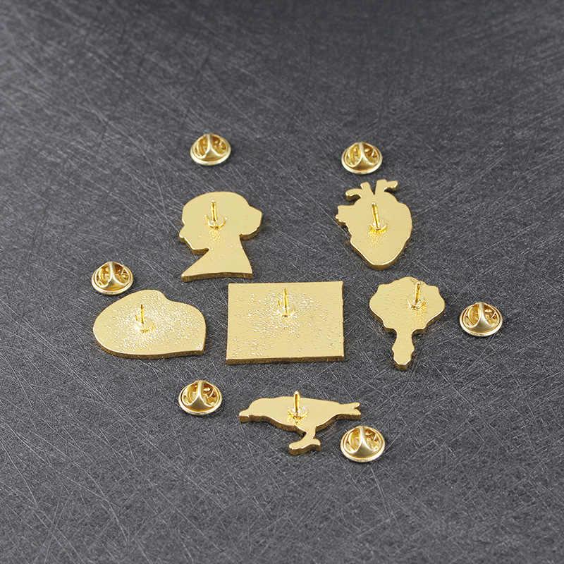 Broszki metalowe usta duszy z serduszkami i ptakami akcesoria do lusterek ikony na odzieży T-shirt torba na ubrania plecak DIY osobowość