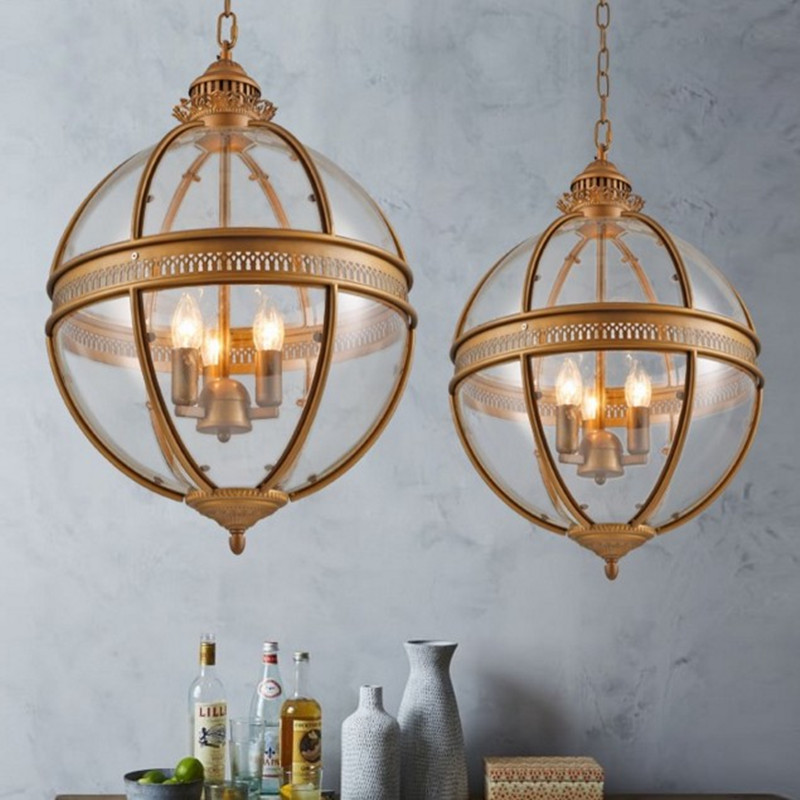 American Rural Iron Glass Lampshade LED Chandelier Loft Retro Cafe Bar Counter Restaurant Living Room Decor Fixture Lights