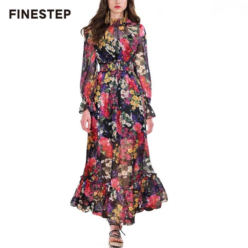 Marque de luxe robe pour femmes 2019 A-ligne À Volants Ourlet robe pour femmes Printemps Longue robe d'été Élégant à manches longues avec col montant