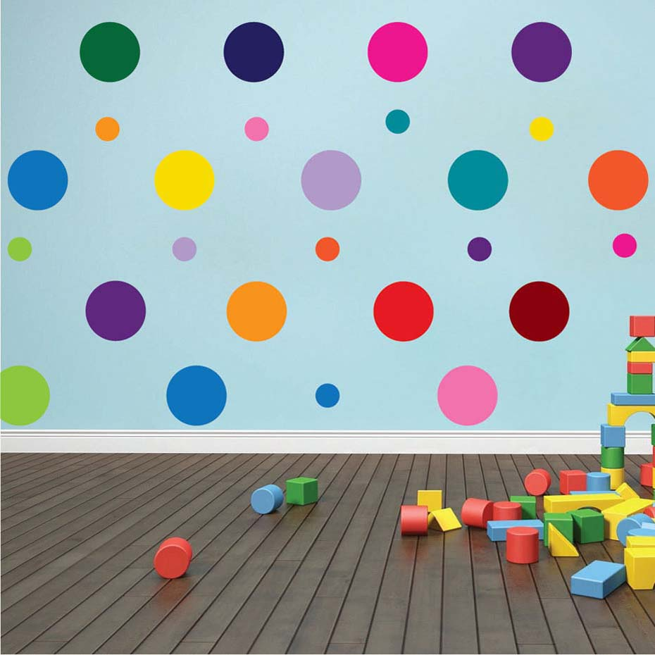 3d Large Size Round Dots Tree Wall Stickers Home Decor: Rainbow Multi Color Size Confetti Polka Dots Circles Vinyl