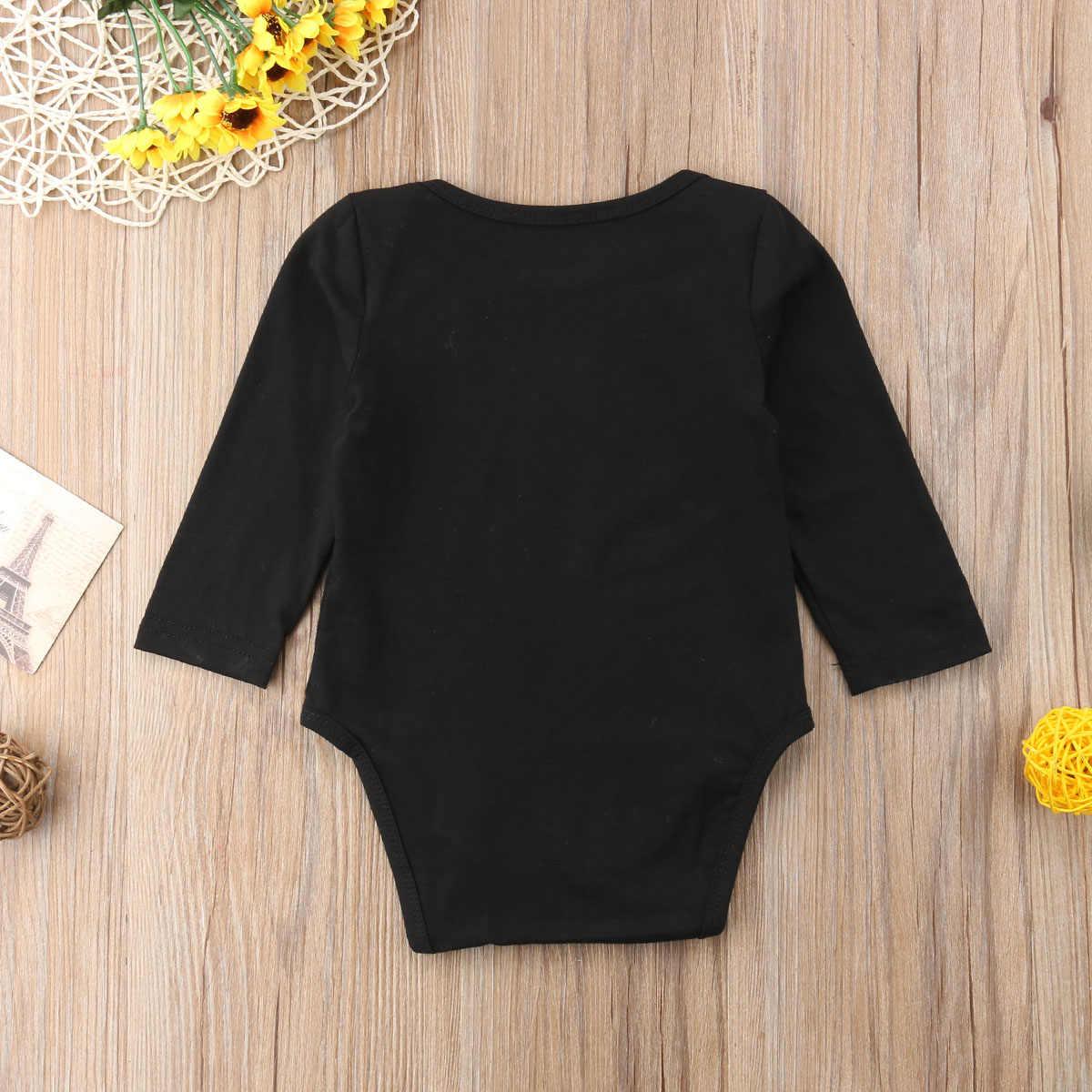 2018 Brand New Newborn Baby Girl Boy Halloween Bodysuit Long Sleeve Cartoon Black Jumpsuit Casual Playsuit Pumpkin Clothes 0-18M