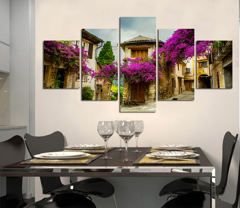 High definition purple flower the street canvas painting adornment kitchen sitting room art wall picture poster unframed FA158