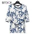 BFDADI Camisa Das Mulheres 2017 Moda impressão Ocasional 3/4 cinto de Corda Solta de Manga Longa Topos Ladied Roupas Plus Size 7800