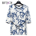 BFDADI Women Shirt 2017 Fashion printing Casual 3/4 Sleeve Loose String belt Long Tops Ladied Clothes Plus size 7800
