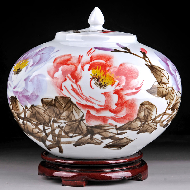 JDZ Jingdezhen Ceramic Vase Living Room Shelf Ornaments Hand Painted Porcelain Jar Antique Crafts