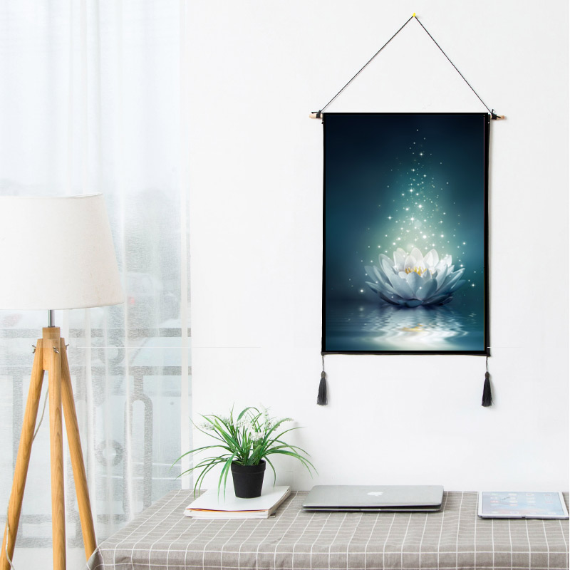 Lotus Water Lily Flower Scroll Paintings Artistic Artwork Wall Hanging Picture Photo Poster For Rooms Hotel Store Dorm Decor B38(China)