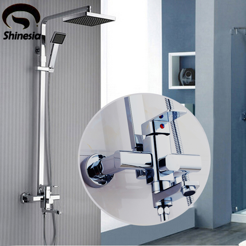 New Modern Chrome Finish Rain Shower Set Faucet ABS Shower Head W/ ABS Hand Shower Spray Mixer Tap Wall Mounted modern thermostatic shower mixer faucet wall mounted temperature control handheld tub shower faucet chrome finish