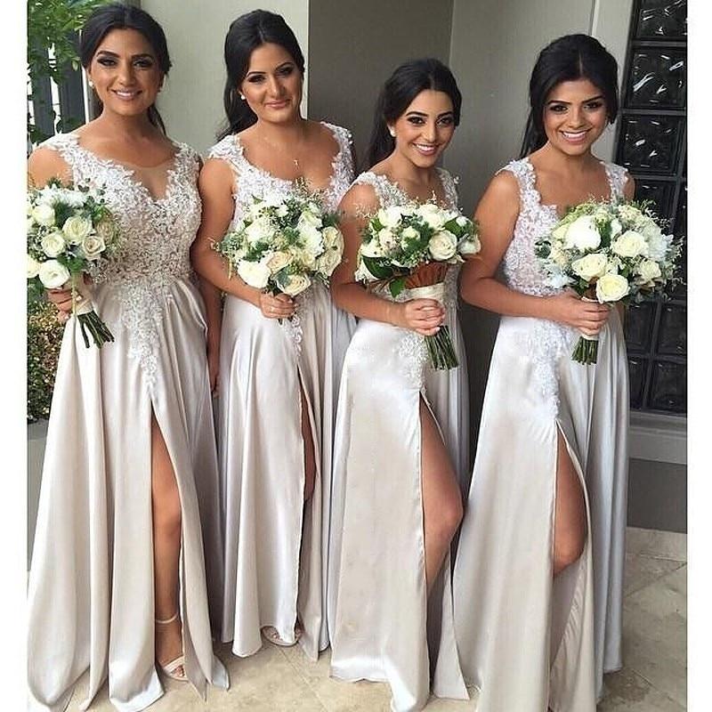 Popular classy bridesmaid dresses buy cheap classy for Silver wedding dresses for bridesmaids