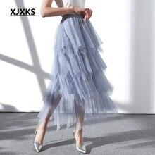 3d377b73a3a7 XJXKS empilhados design exclusivo confortável tecidos de malha mulheres  jovens senhoras nova moda das mulheres saias